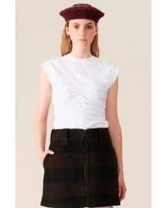 Shirt GANNI Basic Cotton Jersey Fitted Top White