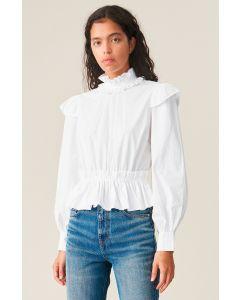 Bluse GANNI Cotton Poplin Cropped Shirt Bright White