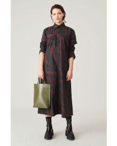 Kleid GANNI Poplin Midi Dress Merlot