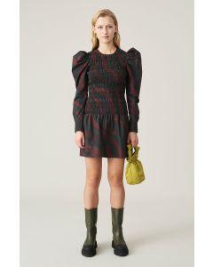 Kleid GANNI Poplin Shirred Mini Dress Merlot