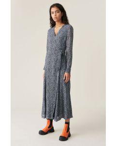 Kleid GANNI Printed Georgette Wickelkleid Phantom