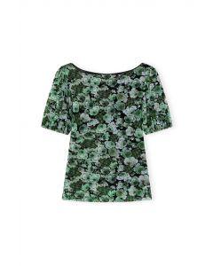 Shirt GANNI Printed Mesh Top