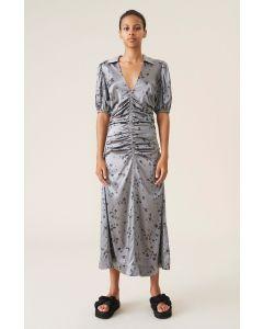 Kleid GANNI Silk Satin Ruched V-Neck Midi Kleid