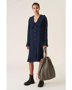 Kleid GANNI Tech Fabric V-Neck Shirt Midi-Kleid