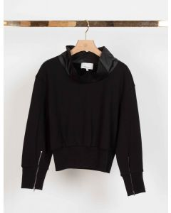 Sweater 3.1. PHILLIP LIM 3/4 Slv French Terry Cowl Neck Po Black