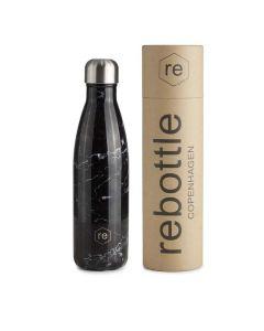 Trinkflasche REBOTTLE COPENHAGEN 500ml Marble Black