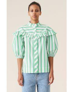 Bluse GANNI Stripe Cotton Kelly Green