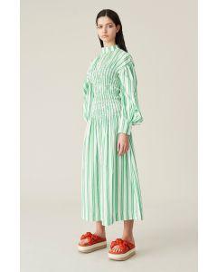 Kleid GANNI Stripe Cotton Kelly Green