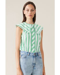 Top GANNI Stripe Cotton Kelly Green