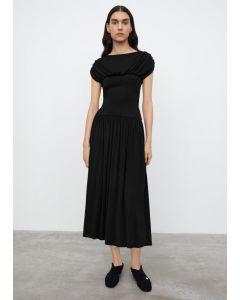 Kleid TOTÊME Double Draped Maxi Dress Black